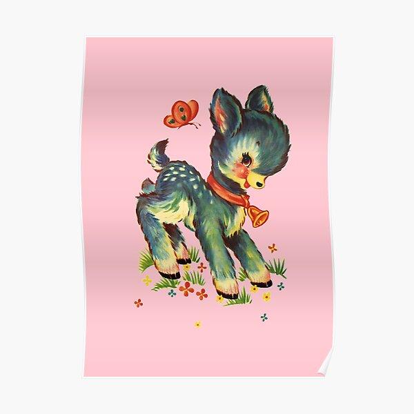 Kitsch Deer - Pink Poster