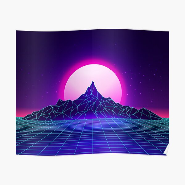 Retro 80s Aesthetic Vaporwave Outrun Style Sun Posters ...