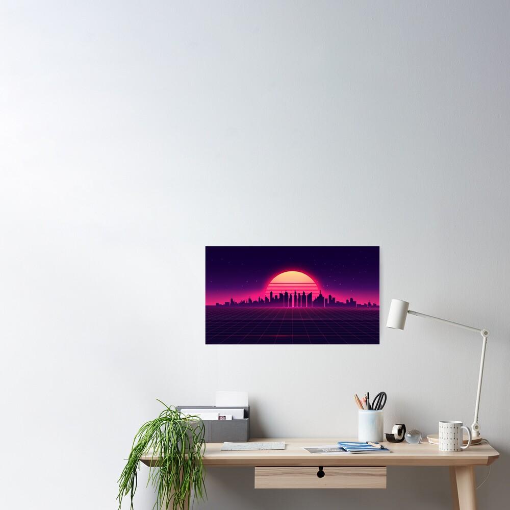 Retro Vaporwave City Skyline Poster