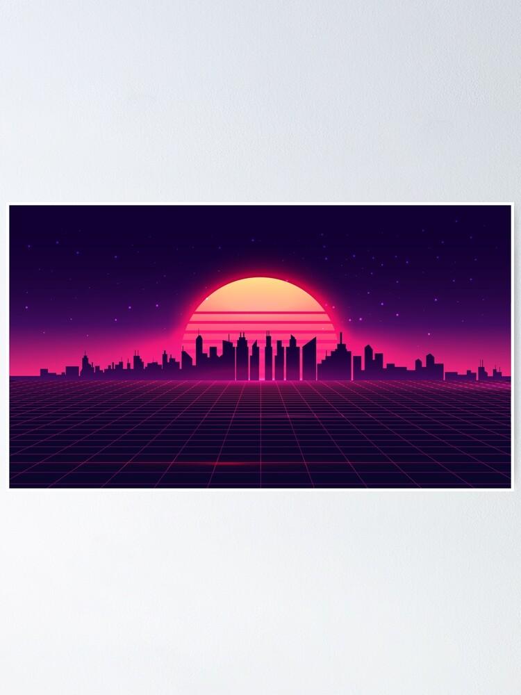 Alternate view of Retro Vaporwave City Skyline Poster