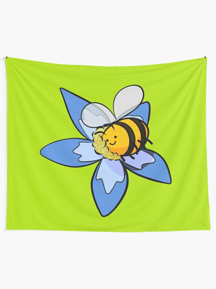 Alternate view of Cheerful bee pollinating flower Tapestry