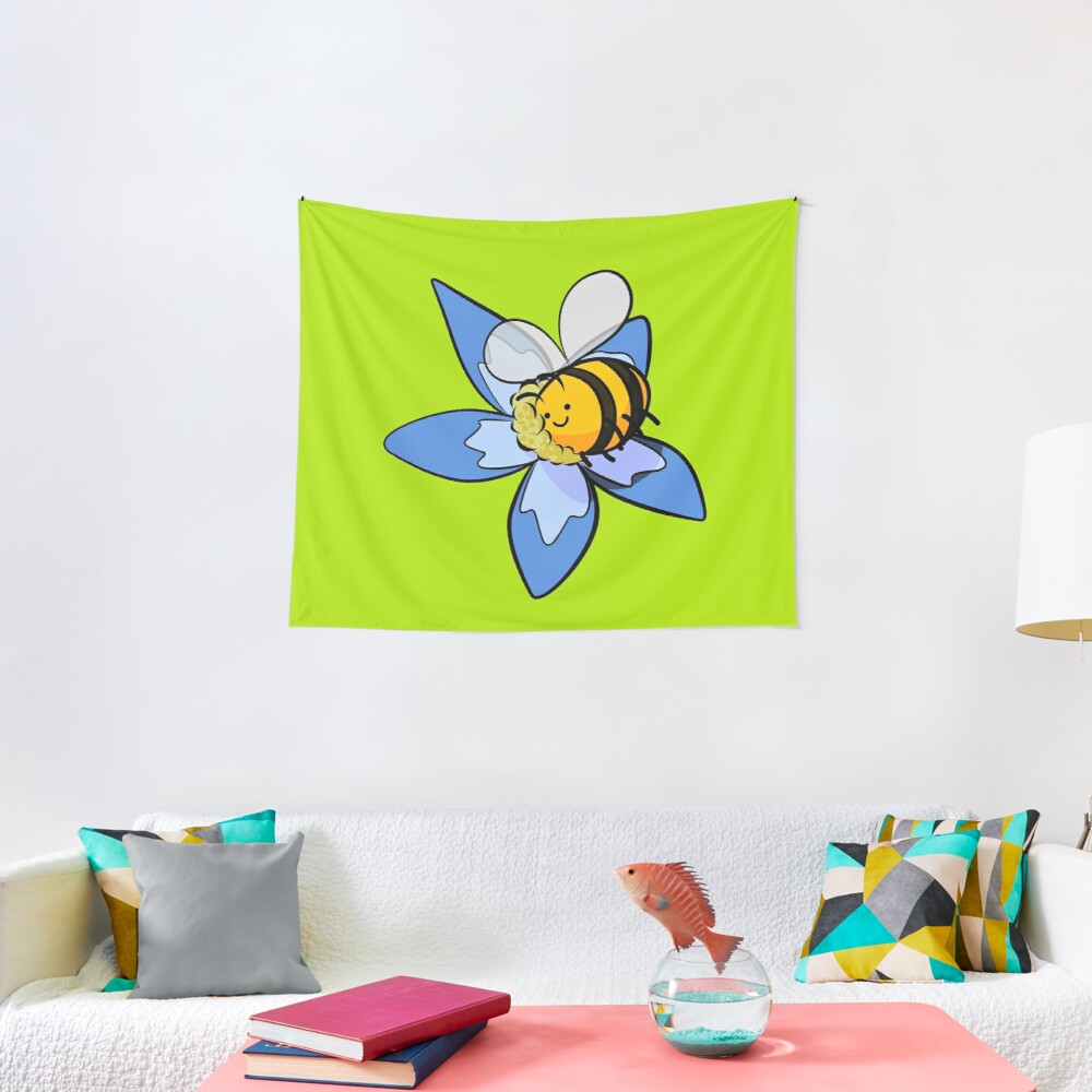 Cheerful bee pollinating flower Tapestry