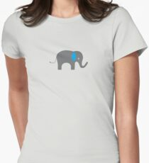 Cute Elephant with blue ears Womens Fitted T-Shirt