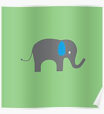 Cute Elephant with blue ears Poster