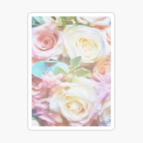 Colourful rose bouquet in pastel colours Sticker