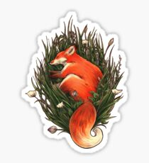 Fox in the Brush Sticker