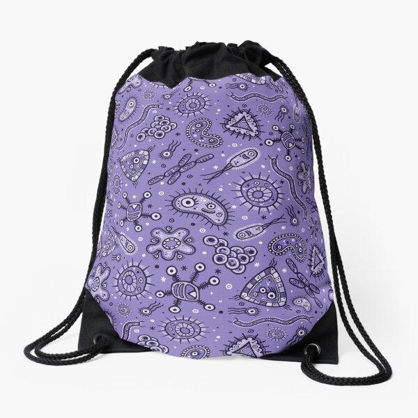 Cartoon Microbes - Purple Drawstring Bag