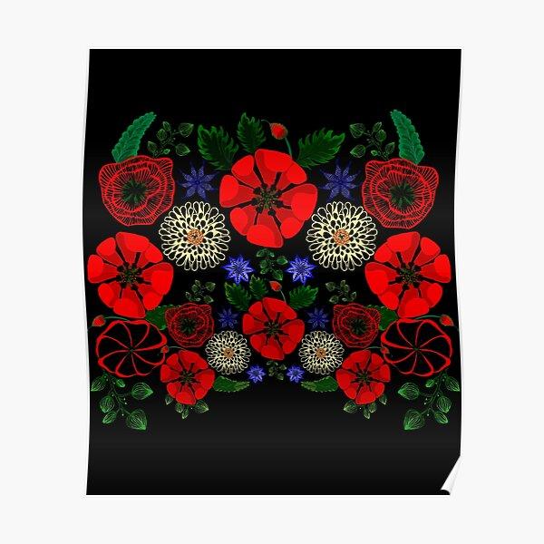 Floral Ukraine Retro Vintage Ukrainian Embroidery Vyshyvanka Style Gift Poster