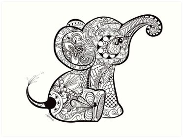 Quot Baby Elephant Doodle Quot Art Prints By Chrissy Hoff Hudson