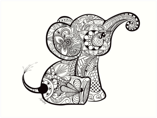 mandala elephant coloring pages easy - photo#20
