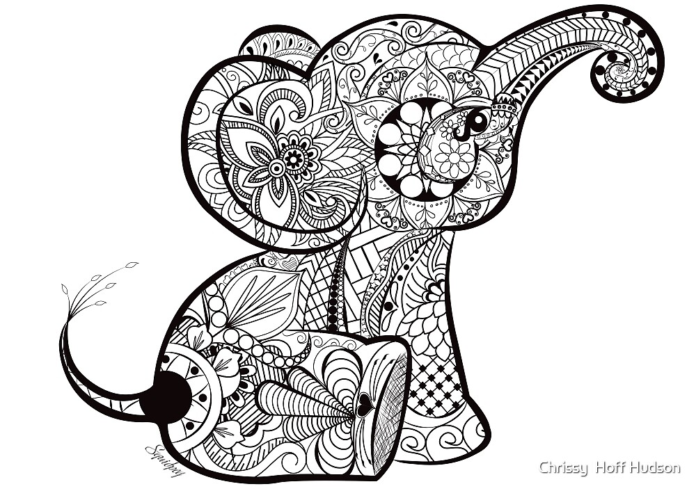 """""""Baby Elephant Doodle"""" by Chrissy Hoff Hudson 