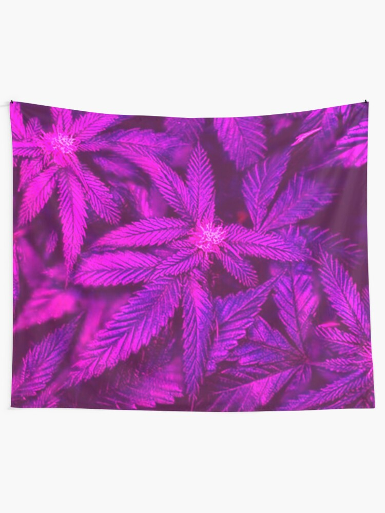 Alternate view of Psychedelic Cannabis Pink Marijuana Leaves  Tapestry