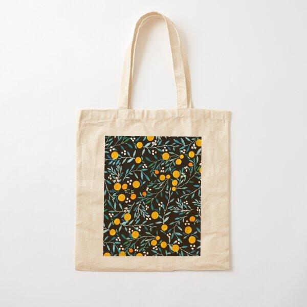 Oranges on Black Cotton Tote Bag