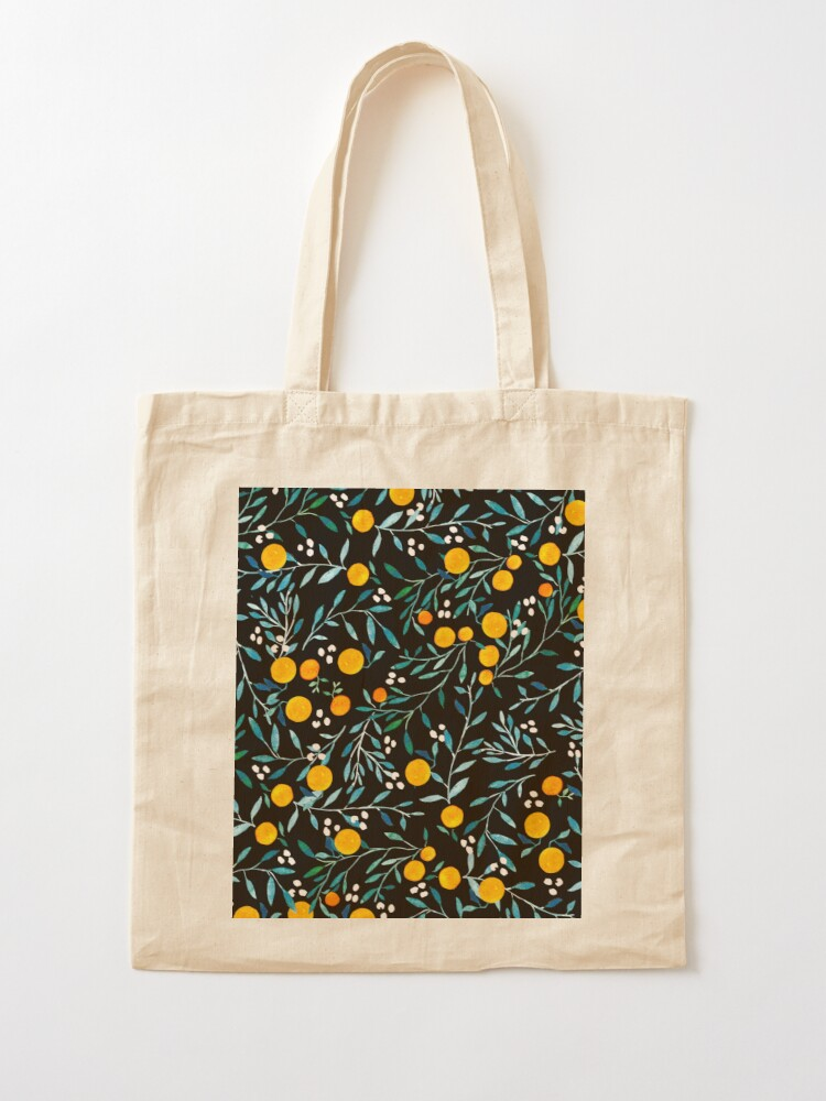 Alternate view of Oranges on Black Tote Bag