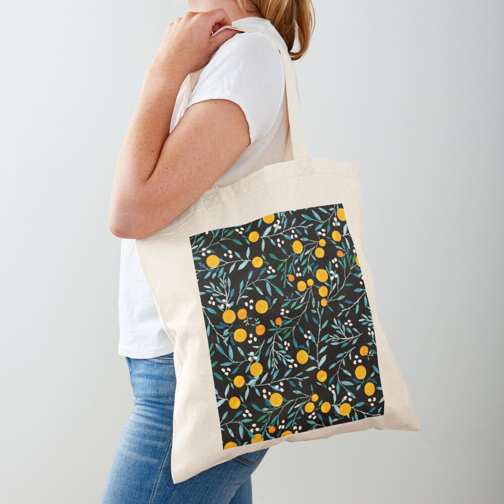 Oranges on Black Tote Bag