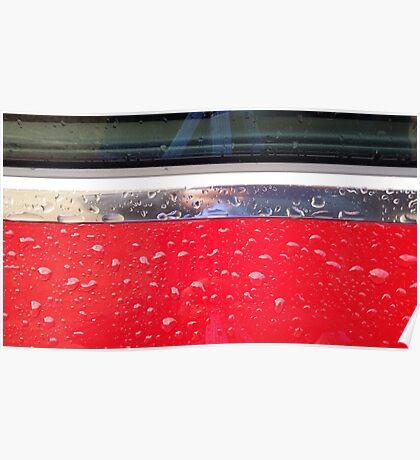 Wet red metal Poster