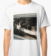 Girl at the luxury sport car wheel Classic T-Shirt