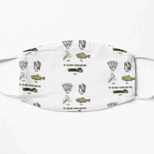 Flush, Flask, Flute, Fish, Flash Fun In Gold Tones Flat Mask