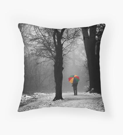 A Lonely Winters Walk Throw Pillow