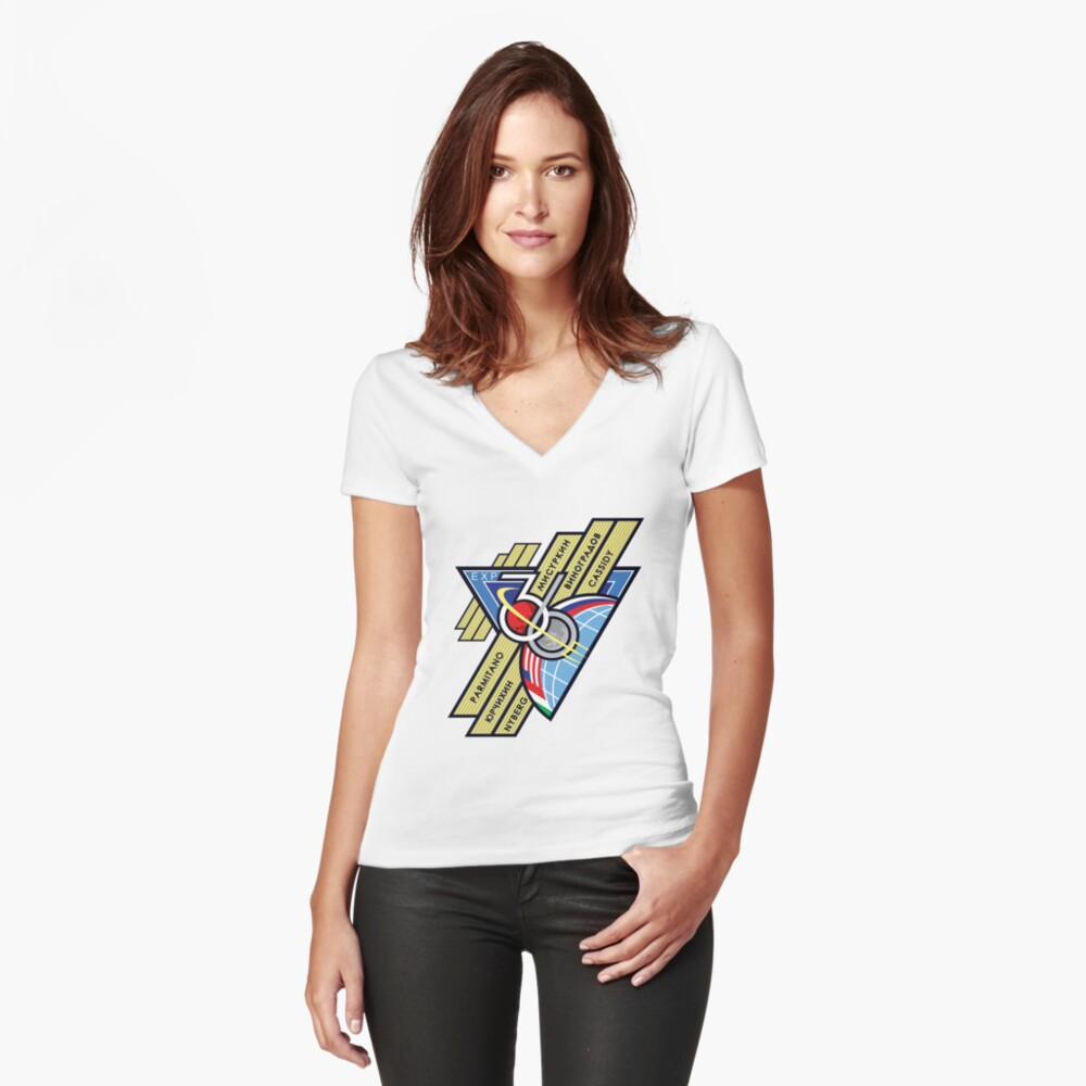 Expedition 36 Mission Patch Women's Fitted V-Neck T-Shirt Front