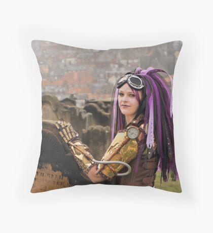 Purple Hair Throw Pillow