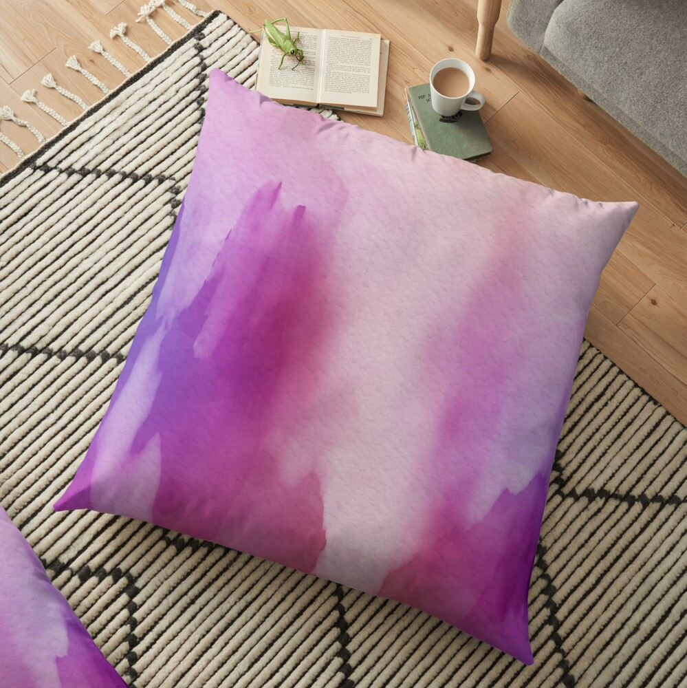 Pinks & Purple Watercolor Positive Space Floor Pillow