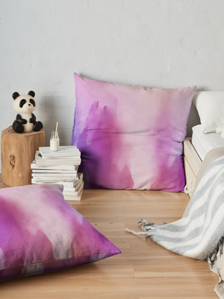 Alternate view of Pinks & Purple Watercolor Positive Space Floor Pillow