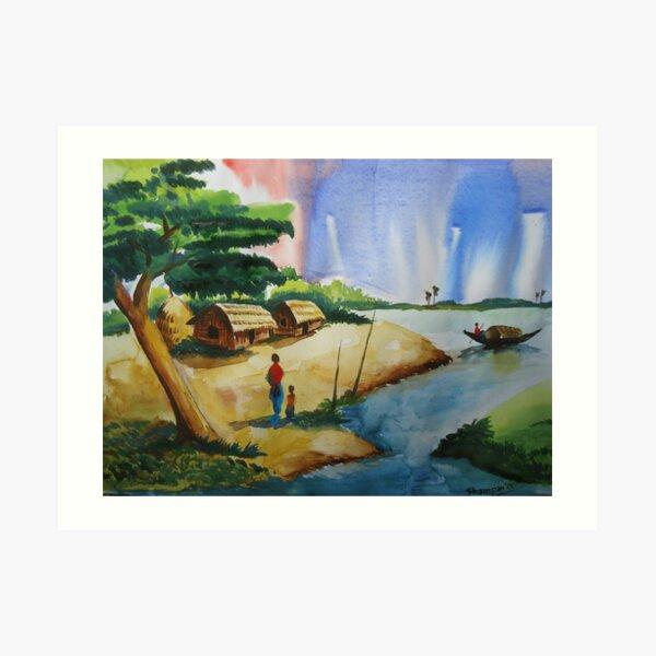 Village landscape of Bangladesh Art Print