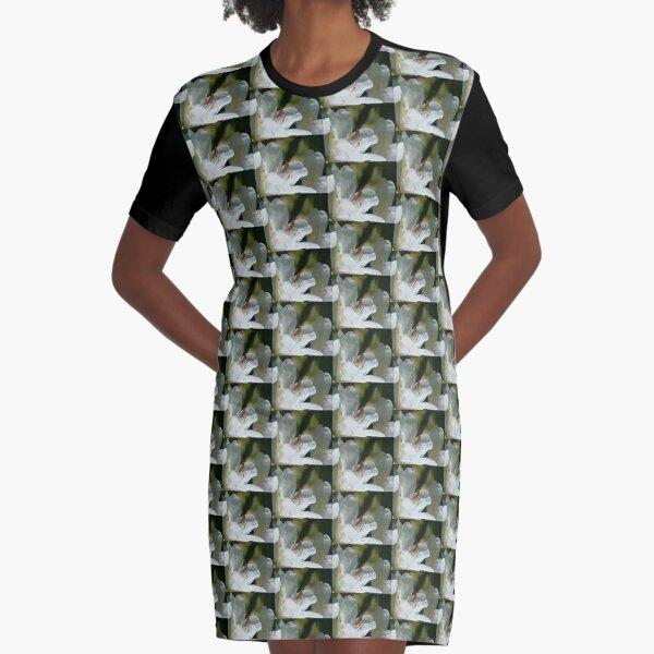 Grasshopper On Azalea Flower Graphic T-Shirt Dress