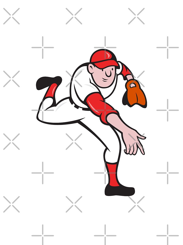 Baseball Player Pitcher Throwing Cartoon by patrimonio