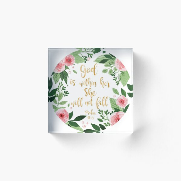Psalms 46:5 watercolor Acrylic Block