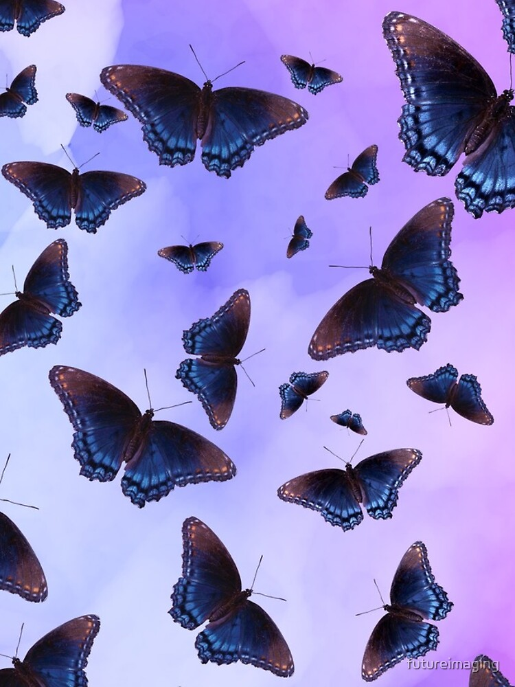 Blue Wing Butterflies Evening Purple Haze by futureimaging