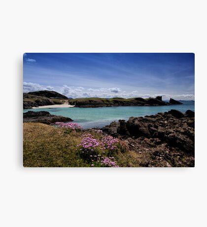 Clachtoll Bay and Split Rock Canvas Print