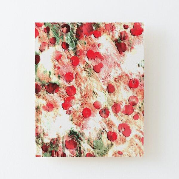 Pink Red Dirty Polka Dot Grunge Wood Mounted Print