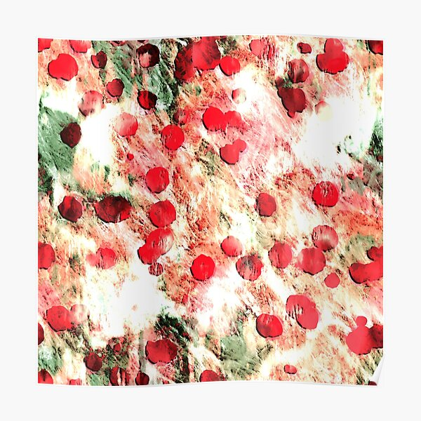 Pink Red Dirty Polka Dot Grunge Poster