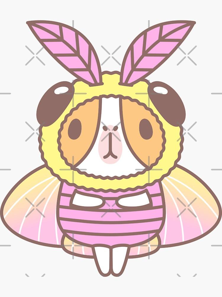 Guinea pig in Rosy Maple Moth Costume  by Miri-Noristudio