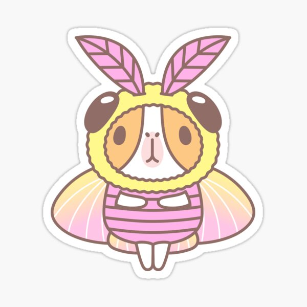 Guinea pig in Rosy Maple Moth Costume  Sticker