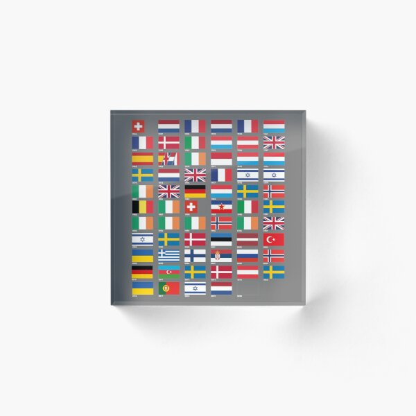 Every Eurovision Song Contest Winner's Flag Acrylic Block