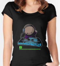 SIMPLE-CARTOON-DJ-GUY - JULY 2012 MERCH - CRUNKECOWEAR.NET BEGREENRECORDS.NET Women's Fitted Scoop T-Shirt