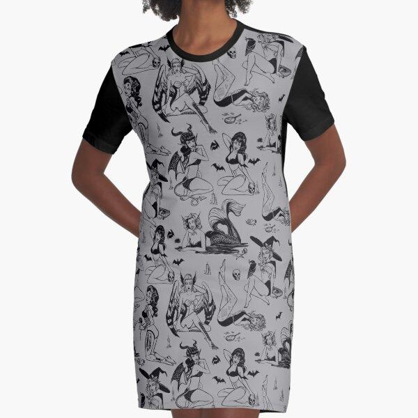 Monster Girl Pinups - Gray Graphic T-Shirt Dress