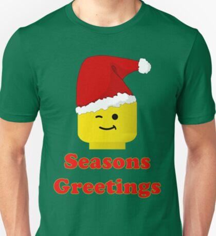 Santa Minifig Seasons Greetings by Customize My Minifig T-Shirt