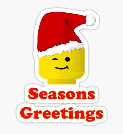 Santa Minifig Seasons Greetings by Customize My Minifig Sticker