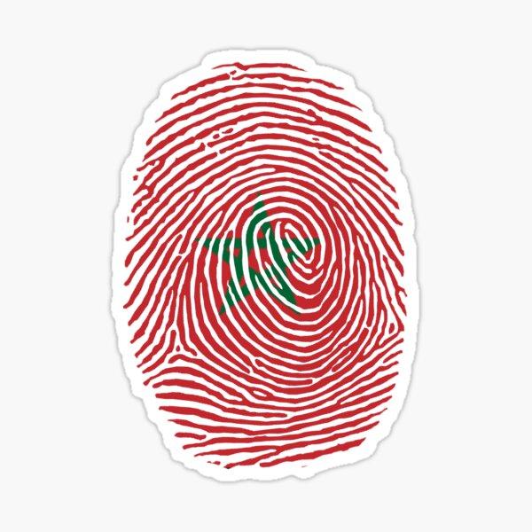 Morocco Flag on a stylish design fingerprint Sticker