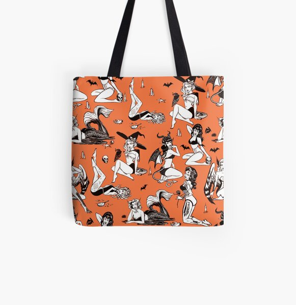 Monster Girl Pinup Pattern All Over Print Tote Bag