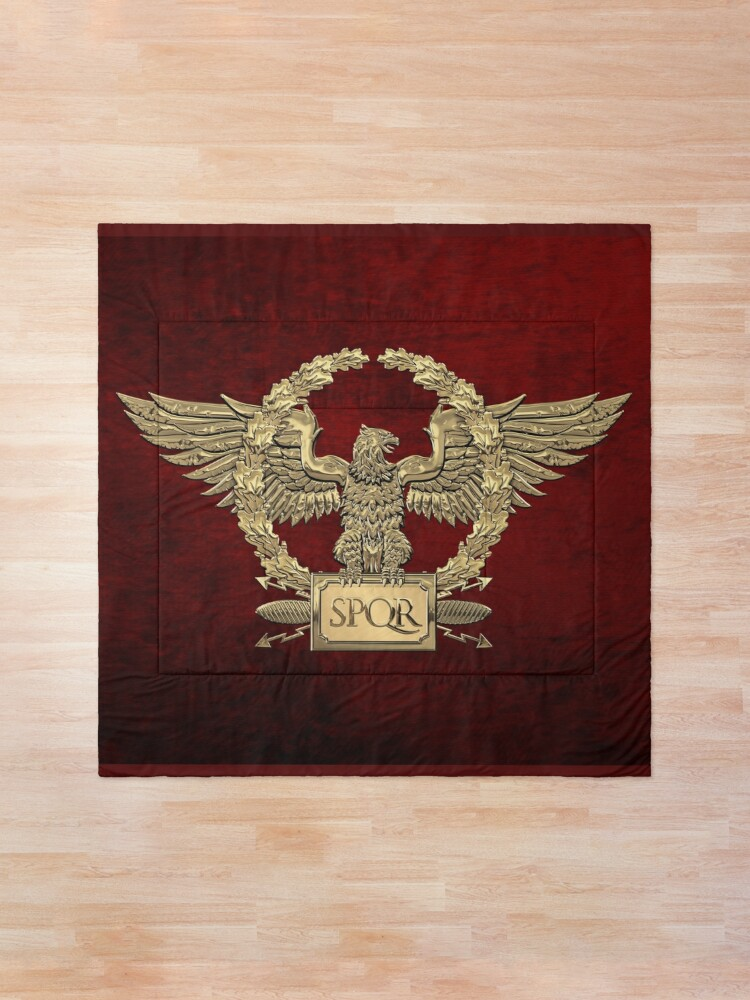 Alternate view of Gold Roman Imperial Eagle - SPQR Special Edition over Red Velvet Comforter