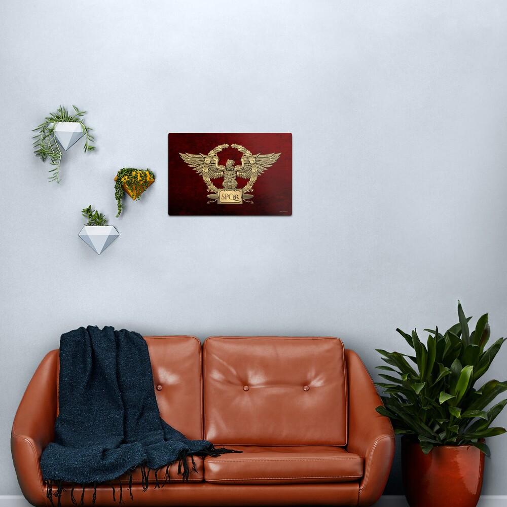 Gold Roman Imperial Eagle - SPQR Special Edition over Red Velvet Metal Print