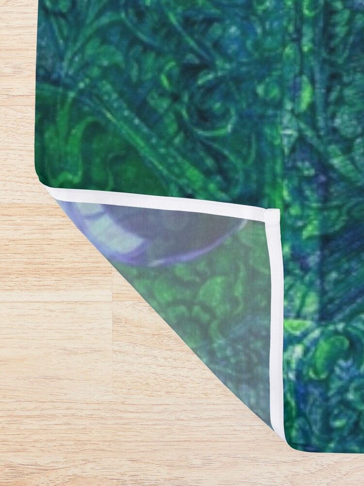 Alternate view of Mystic Visions in Blue and Green Shower Curtain