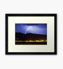 Lightning Striking Over IBM Boulder Framed Print