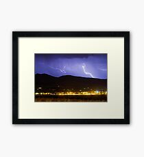 Lightning Striking Over IBM Boulder 2 Framed Print