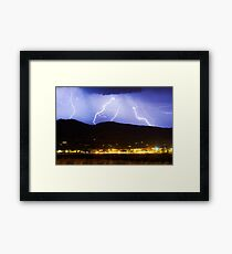 Lightning Striking Over IBM Boulder 3 Framed Print